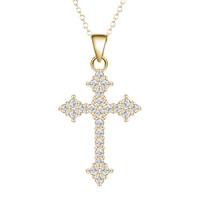 Messing Halskette, Kreuz, vergoldet, Oval-Kette & für Frau & mit kubischem Zirkonia, frei von Blei & Kadmium, 40cm, verkauft per ca. 15.5 ZollInch Strang