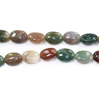 Natürliche Indian Achat Perlen, Indischer Achat, flachoval, verschiedene Größen vorhanden, Bohrung:ca. 0.5-1mm, verkauft per ca. 15.5 ZollInch Strang