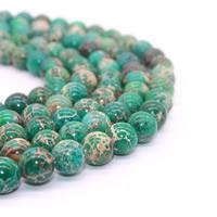 Impression Jaspis Perle, rund, verschiedene Größen vorhanden, grün, Bohrung:ca. 1mm, verkauft per ca. 15.5 ZollInch Strang