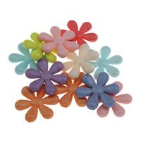 Acryl Schmuck Perlen, Blume, gemischte Farben, 35x32x7mm, Bohrung:ca. 1.5mm, 10PCs/Tasche, verkauft von Tasche