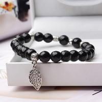 rabenschwarze Perlen Armband, mit Zinklegierung, Blatt, antik silberfarben plattiert, verschiedene Größen vorhanden & für Frau, 2/Strang, verkauft per ca. 6 ZollInch Strang