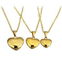 Edelstahl Schmuck Halskette, Herz, goldfarben plattiert, verschiedene Größen vorhanden & Oval-Kette & für Frau, verkauft von Strang