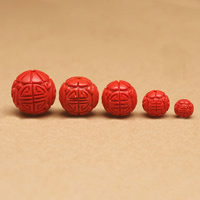 Zinnoberrot Perlen, Cinnabaris, rund, geschnitzt, verschiedene Größen vorhanden, Bohrung:ca. 1-2mm, 10PCs/Tasche, verkauft von Tasche