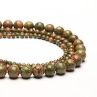 Unakite Perle, rund, synthetisch, verschiedene Größen vorhanden, Bohrung:ca. 1mm, verkauft per ca. 15 ZollInch Strang