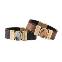Rindsleder Armband, Kuhhaut, mit Kristall & Zinklegierung, goldfarben plattiert, für Frau, keine, verkauft per ca. 7.4 ZollInch Strang