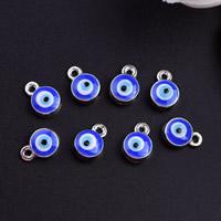 Evil Eye Anhänger, Zinklegierung, blöser Blick, Platinfarbe platiniert, Emaille, frei von Blei & Kadmium, 7x5mm, Bohrung:ca. 1mm, 60PCs/Tasche, verkauft von Tasche