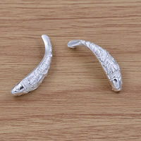 Kubischer Zirkonia Messing Perlen, Fisch, versilbert, frei von Blei & Kadmium, 8.3x42mm, Bohrung:ca. 2mm, verkauft von PC