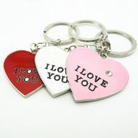 Schlüsselanhänger, Zinklegierung, mit Eisen Ring, Herz, Wort ich liebe dich, Platinfarbe platiniert, Emaille & mit Strass, keine, frei von Blei & Kadmium, 42x42mm, Bohrung:ca. 32mm, verkauft von PC