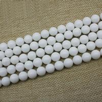 Weiße Porzellan Perlen, rund, verschiedene Größen vorhanden, Länge:ca. 15 ZollInch, ca. 3SträngeStrang/Tasche, verkauft von Tasche