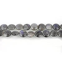 Labradorit Perle, flache Runde, 12x12x6mm, Bohrung:ca. 1mm, ca. 33PCs/Strang, verkauft per ca. 16 ZollInch Strang