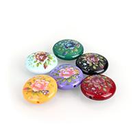 Harz Schmuckperlen, flache Runde, Drucken, gemischte Farben, 24.50x9mm, Bohrung:ca. 2mm, 10PCs/Menge, verkauft von Menge