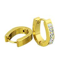 Huggie Ohrreifen, Edelstahl, mit Ton, goldfarben plattiert, 4x15x14mm, 12PaarePärchen/Tasche, verkauft von Tasche