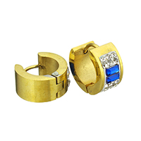 Huggie Ohrreifen, Edelstahl, mit Ton & Glas, goldfarben plattiert, facettierte, 7x12x14mm, 12PaarePärchen/Tasche, verkauft von Tasche