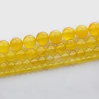 Natürliche gelbe Achat Perlen, Gelber Achat, rund, verschiedene Größen vorhanden, verkauft per ca. 15 ZollInch Strang