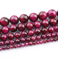 Tigerauge Perlen, rund, natürlich, verschiedene Größen vorhanden, rosakarmin, verkauft per ca. 15 ZollInch Strang