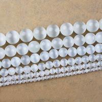 Cats Eye Perlen Schmuck, Katzenauge, rund, natürlich, verschiedene Größen vorhanden, weiß, verkauft per ca. 15 ZollInch Strang