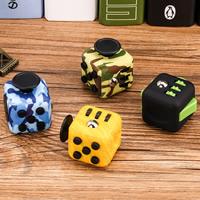 ABS Kunststoff Fidget Cube, mit Zinklegierung, Würfel, Platinfarbe platiniert, verschiedene Muster für Wahl, frei von Nickel, Blei & Kadmium, 33x33mm, verkauft von PC