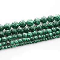 Malachit Perle, rund, verschiedene Größen vorhanden, verkauft per ca. 15 ZollInch Strang