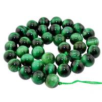 Tigerauge Perlen, rund, natürlich, verschiedene Größen vorhanden, grün, Bohrung:ca. 1mm, verkauft per ca. 15 ZollInch Strang