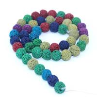 Natürliche Lava Perlen, rund, farbenfroh, 6mm, Bohrung:ca. 1mm, ca. 63PCs/Strang, verkauft per ca. 15 ZollInch Strang