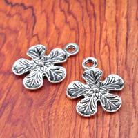 Zinklegierung Blume Anhänger, antik silberfarben plattiert, frei von Blei & Kadmium, 17x21.5mm, Bohrung:ca. 1-1.5mm, 200PCs/Tasche, verkauft von Tasche