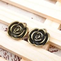 Zinklegierung Blume Anhänger, antike Bronzefarbe plattiert, frei von Blei & Kadmium, 22.5x22.5mm, Bohrung:ca. 1-1.5mm, 100PCs/Tasche, verkauft von Tasche