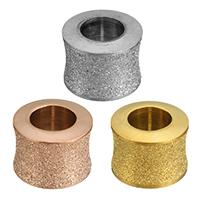 Edelstahl-Perlen mit großem Loch, Edelstahl, Trommel, plattiert, Falten, keine, 7x10mm, Bohrung:ca. 6mm, 50PCs/Menge, verkauft von Menge