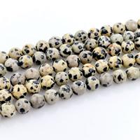 Dalmatinische Perlen, Dalmatiner, rund, natürlich, verschiedene Größen vorhanden, Bohrung:ca. 1mm, verkauft per ca. 15 ZollInch Strang