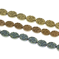 Nicht-magnetische Hämatit Perlen, mit Non- magnetische Hämatit, oval, plattiert, keine, 10x14x4mm, Bohrung:ca. 1mm, ca. 29PCs/Strang, verkauft per ca. 15 ZollInch Strang