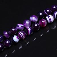 Streifen Achat Perle, rund, verschiedene Größen vorhanden, violett, Bohrung:ca. 1mm, verkauft per ca. 15 ZollInch Strang