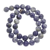blauer Punkt Perle, rund, verschiedene Größen vorhanden, Bohrung:ca. 1mm, verkauft per ca. 15 ZollInch Strang