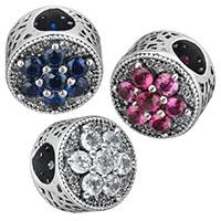 Thailand European Perlen, flache Runde, Micro pave Zirkonia & ohne troll & hohl, keine, 11x11x9.50mm, Bohrung:ca. 4.5mm, verkauft von PC