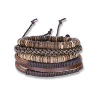 comeon® Schmuck Armband, Kuhhaut, mit Gewachste Nylonschnur & Holz, plattiert, unisex & einstellbar, Länge:ca. 7 ZollInch, 4SträngeStrang/setzen, verkauft von setzen