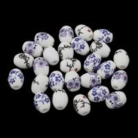 Kunstdruck Porzellan Perlen, gemischte Farben, 10x8mm, Bohrung:ca. 1.5mm, 100PCs/Tasche, verkauft von Tasche