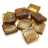 Goldsand & Silberfolie Lampwork Perlen, Goldfolie und Siberfolie, 20x20x5.50mm, Bohrung:ca. 1.5mm, 5Taschen/Menge, 20PCs/Tasche, verkauft von Menge