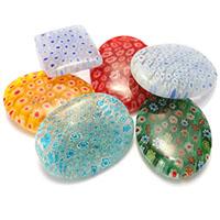 Millefiori Scheibe Lampwork Perlen, mit Millefiori Scheibe & gemischt, 35-40x25-30x7.5-8.5mm, Bohrung:ca. 1.5mm, 8Taschen/Menge, 10PCs/Tasche, verkauft von Menge