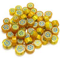 Chevron Glasperlen, flache Runde, kein Loch, 7.5-13x5mm, 5Taschen/Menge, ca. 50PCs/Tasche, verkauft von Menge