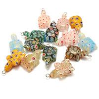 Millefiori Scheibe Lampwork Perlen, Schildkröter, mit Millefiori Scheibe, gemischte Farben, 14x24x7mm, Bohrung:ca. 2mm, 5Taschen/Menge, 10PCs/Tasche, verkauft von Menge
