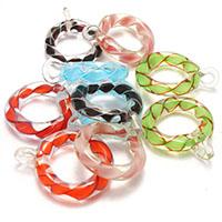 Handgewickelte Perlen, Lampwork, Kreisring, gemischte Farben, 26-29x34-37x10mm, Bohrung:ca. 4-5mm, 5Taschen/Menge, 10PCs/Tasche, verkauft von Menge
