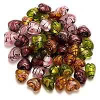 Goldsand & Silberfolie Lampwork Perlen, Herz, Goldfolie und Siberfolie, gemischte Farben, 11-13x11-14x8-9mm, Bohrung:ca. 2mm, 2Taschen/Menge, 50PCs/Tasche, verkauft von Menge