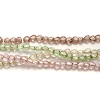Silberfolie Lampwork Perlen, Herz, gemischte Farben, 6-8x7-9x6-6.5mm, Bohrung:ca. 1mm, Länge:ca. 12-14 ZollInch, 10SträngeStrang/Menge, ca. 50PCs/Strang, verkauft von Menge