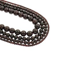 Granat Perle, rund, natürlich, Januar Birthstone & verschiedene Größen vorhanden, Bohrung:ca. 1mm, verkauft per ca. 15.5 ZollInch Strang