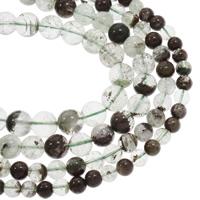 Grüner Phantomquarz Perle, rund, natürlich, verschiedene Größen vorhanden, Bohrung:ca. 1mm, verkauft per ca. 15.5 ZollInch Strang