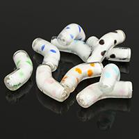Lampwork gebogene Rohr Perlen, gemischte Farben, 34-37x10x10mm, Bohrung:ca. 2mm, 5Taschen/Menge, ca. 20PCs/Tasche, verkauft von Menge