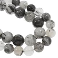 Rutilated Quarz Perle, rund, natürlich, verschiedene Größen vorhanden, schwarz, verkauft per ca. 15.5 ZollInch Strang