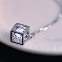 KRISTALLanhänger, Messing, mit Kristall, Würfel, versilbert, facettierte, frei von Nickel, Blei & Kadmium, 8mm, Bohrung:ca. 2-3mm, verkauft von PC