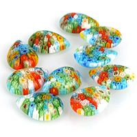 Millefiori Scheibe Lampwork Perlen, Tropfen, mit Millefiori Scheibe & kein Loch, 17x23x6mm, 2Taschen/Menge, 30PCs/Tasche, verkauft von Menge