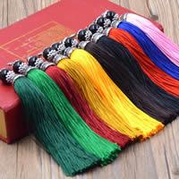 Dekorative Quaste, Polyester, mit Schwarzer Achat & Zinklegierung, antik silberfarben plattiert, keine, 140mm, verkauft von PC