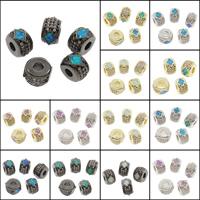 Kubischer Zirkonia Messing Perlen, flache Runde, plattiert, mit kubischem Zirkonia, keine, frei von Nickel, Blei & Kadmium, 9x8x5.50mm, Bohrung:ca. 3mm, 10PCs/Tasche, verkauft von Tasche
