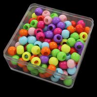 European Acrylperlen, Acryl, mit Kunststoff Kasten, rund, Volltonfarbe, gemischte Farben, 9.5x11.5mm, 94x94x41mm, Bohrung:ca. 6mm, 150G/Box, verkauft von Box
